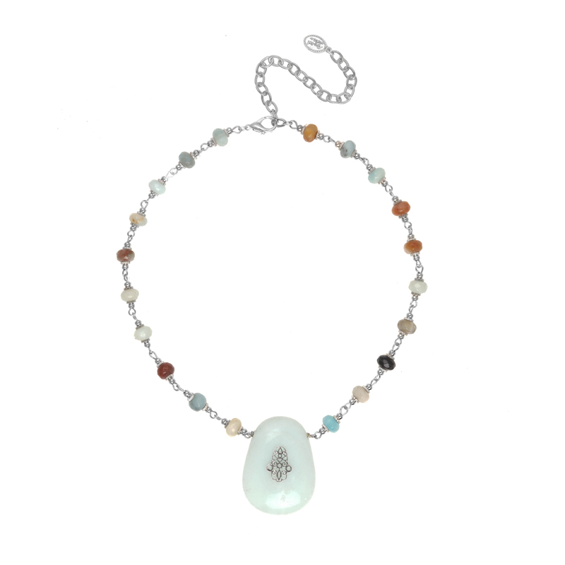Amazonite Hamsa Necklace