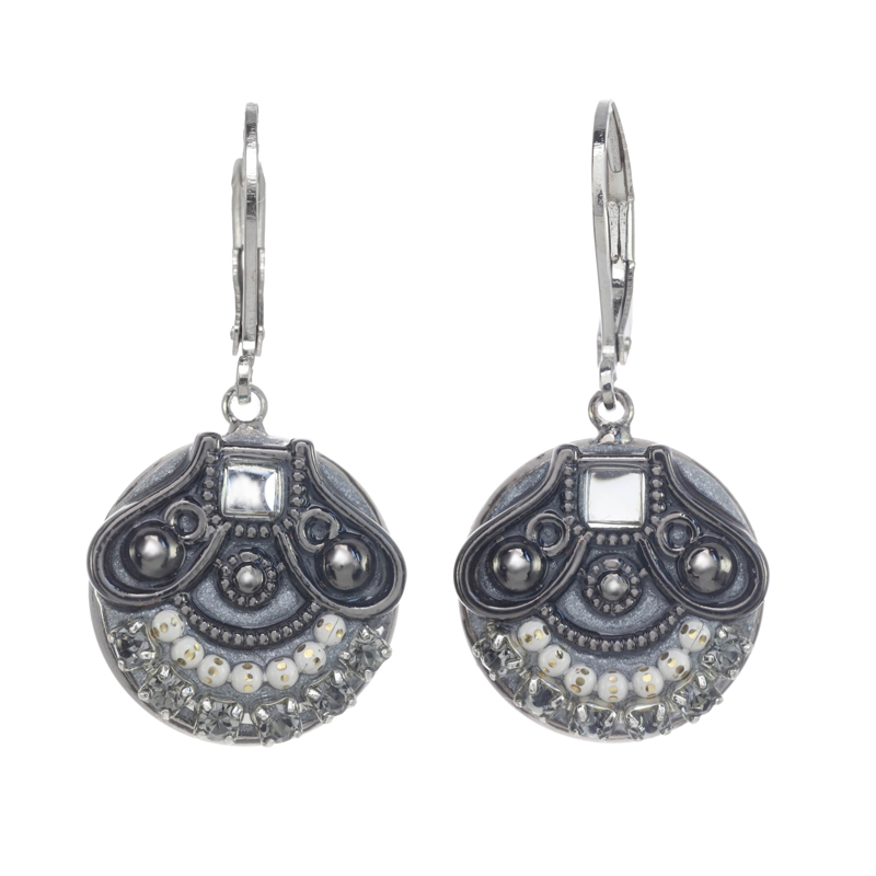 Silver and Grey Circle Earrings