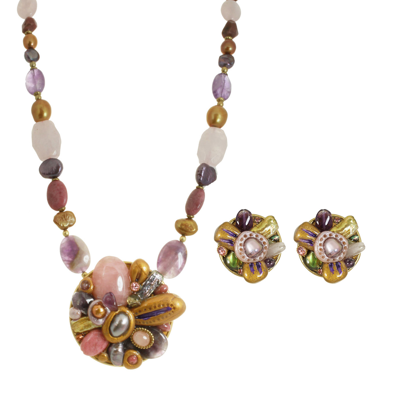 Moon Flower Clip Earrings and Necklace Set