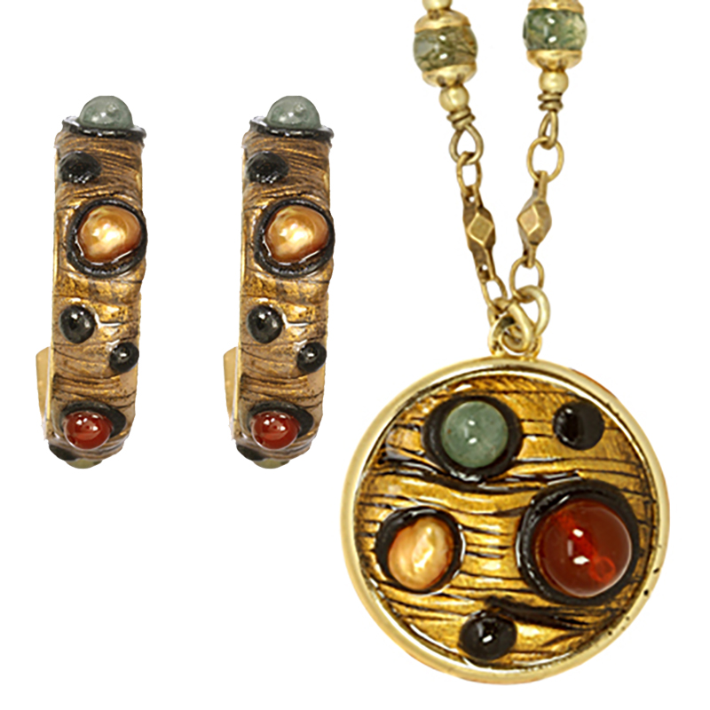 Bohemian Bronze Clip Earrings and Necklace Set