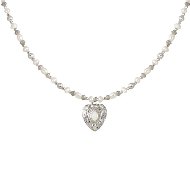 Winter White Heart Necklace