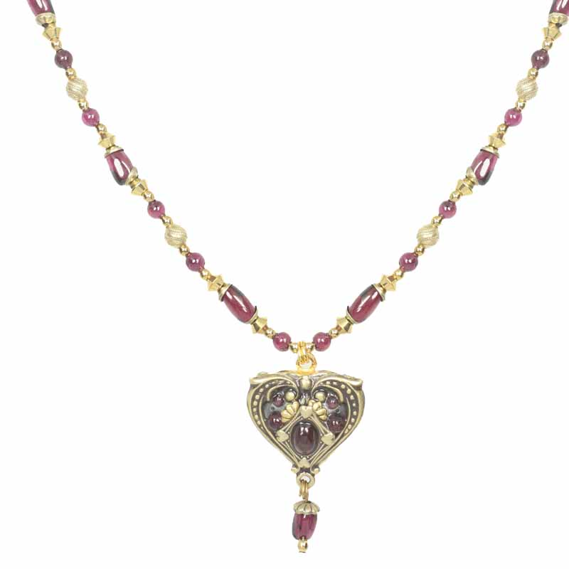 Garnet Heart Dangling Beaded Necklace
